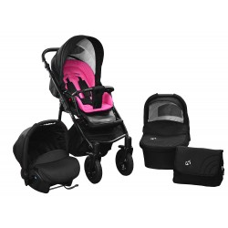 Baby pram SkyLine Gtr2 3w1 BLACK-RED EDITION k15 - pink