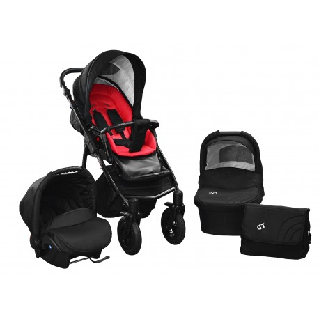 Baby pram SkyLine Gtr2 3w1 BLACK EDITION k1 - red