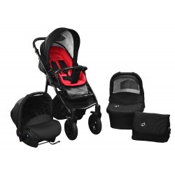Baby pram SkyLine Gtr2 3w1 BLACK-RED EDITION k10 - red