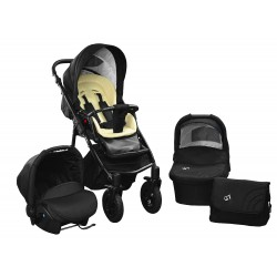 Baby pram SkyLine Gtr2 3w1 BLACK-RED EDITION k12 - beige