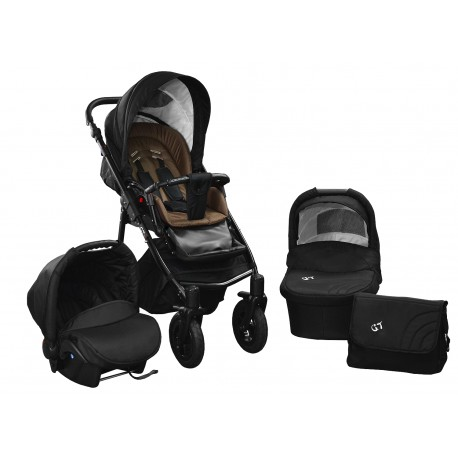Baby pram SkyLine Gtr2 3w1 BLACK-RED EDITION k13 - brown