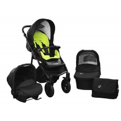 Baby pram SkyrLine GTr2 3w1 BLACK-RED EDITION k16 - green
