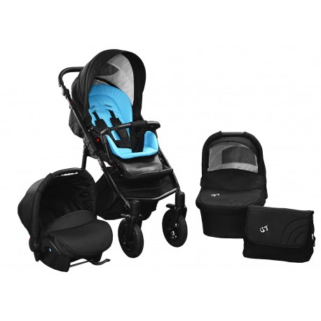 Baby pram SkyLine Gtr2 3w1 BLACK-RED EDITION k17 - blue