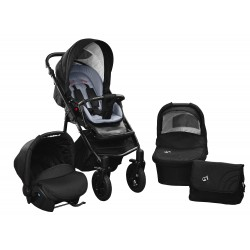 Baby pram SkyrLine GTr2 3w1 BLACK-RED EDITION k18 - grey