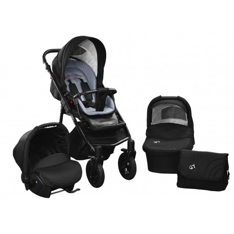 Baby pram SkyLine Gtr2 3w1 BLACK-RED EDITION k18 - grey